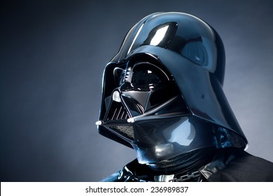 SAN BENEDETTO DEL TRONTO, ITALY. DECEMBER 5, 2014. Helmet of a replica of the costume of Darth Vader . Lord Fener is a fictional character of Star Wars saga.