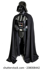 SAN BENEDETTO DEL TRONTO, ITALY. DECEMBER 5, 2014.  Darth Vader costume replica . Lord Fener is a fictional character of Star Wars saga. White background