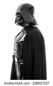 SAN BENEDETTO DEL TRONTO, ITALY. DECEMBER 5, 2014. Profile portrait of Darth Vader costume replica. Lord Fener is a fictional character of Star Wars saga. White background