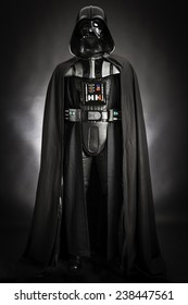 SAN BENEDETTO DEL TRONTO, ITALY. DECEMBER 5, 2014.Studio portrait of Darth Vader costume replica . Darth Vader or Dart Fener is a fictional character of Star Wars saga. Black background