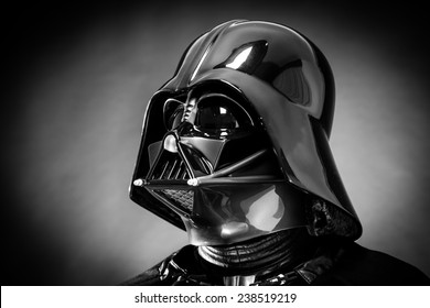 SAN BENEDETTO DEL TRONTO, ITALY. DECEMBER 5, 2014. Helmet of a replica of the costume of Darth Vader . Lord Fener is a fictional character of Star Wars saga. Black and white picture