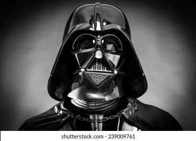 SAN BENEDETTO DEL TRONTO, ITALY. DECEMBER 5, 2014. Black and white portrait of the head of Darth Vader costume replica. Lord Fener is a fictional character of Star Wars saga.