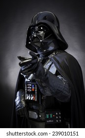 SAN BENEDETTO DEL TRONTO, ITALY. DECEMBER 5, 2014. Half-lenght portrait of Darth Vader costume replica . Darth Vader or Dart Fener is a fictional character of Star Wars saga. Studio light