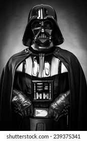 SAN BENEDETTO DEL TRONTO, ITALY. DECEMBER 5, 2014. Half-lenght portrait of  Darth Vader costume replica . Darth Vader or Dart Fener is a fictional character of Star Wars saga. Black and white picture