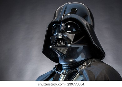 SAN BENEDETTO DEL TRONTO, ITALY. DECEMBER 5, 2014. Darth Vader helmet replica . Darth Vader or Dart Fener is a fictional character of Star Wars saga. Studio lights.