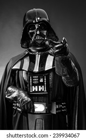 SAN BENEDETTO DEL TRONTO, ITALY. DECEMBER 5, 2014. Darth Vader costume replica portrait . Darth Vader or Dart Fener is a fictional character of Star Wars saga. Black background