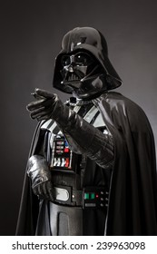 SAN BENEDETTO DEL TRONTO, ITALY. DECEMBER 5, 2014. Three Quarter portrait of Darth Vader costume replica . Darth Vader or Dart Fener is a fictional character of Star Wars saga.