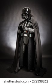SAN BENEDETTO DEL TRONTO, ITALY. DECEMBER 5, 2014. Studio portrait of Darth Vader costume replica. Darth Vader or Dart Fener is a fictional character of Star Wars saga. Black background