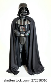 SAN BENEDETTO DEL TRONTO, ITALY. DECEMBER 5, 2014. Studio portrait of Darth Vader costume replica. Darth Vader or Dart Fener is a fictional character of Star Wars saga. White background