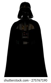 SAN BENEDETTO DEL TRONTO, ITALY. DECEMBER 5, 2014. Darth Vadersilhouette costume replica . Darth Vader or Dart Fener is a fictional character of Star Wars saga. White background
