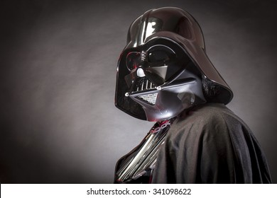 SAN BENEDETTO DEL TRONTO, ITALY. MAY 16, 2015. Portrait of Darth Vader costume replica  . Darth Vader is a fictional character of Star Wars saga.  Black bacground