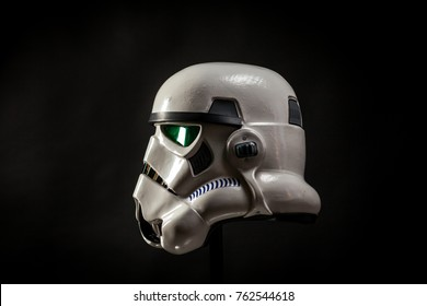 SAN BENEDETTO DEL TRONTO, ITALY. NOVEMBER 11, 2017. Ptudio portrait  of stormtrooper costume replica . He is a fictional character of Star Wars saga. Black background