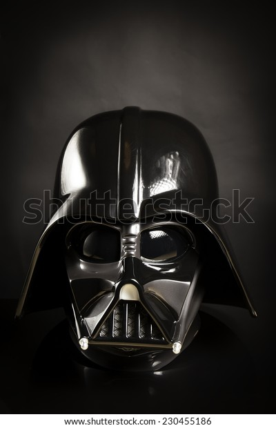SAN BENEDETTO DEL TRONTO, ITALY. NOVEMBER 12, 2014. Photo of a replica of the helmet of Darth Vader costume. Lord Fener is a fictional character of Star Wars saga