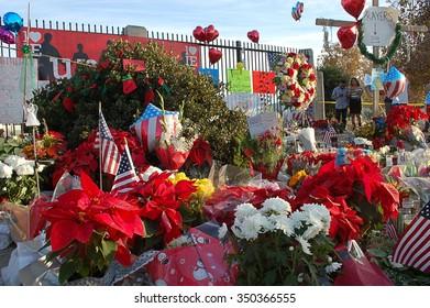 SAN BERNARDINO, CA - DECEMBER 6: Mementos left by visitors at a makeshift memorial to IRC shooting victims on December 6, 2015 in San Bernardino, California.