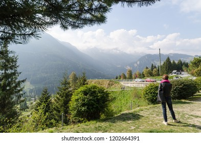 San Bernardino Pass, Switzerland - September 30, 2018: Alps view in Switzerland nearby the San Bernardino Pass