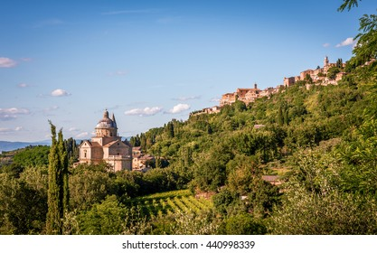 San Biagio church and Montepulciano town in Tuscany