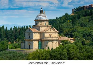 San Biagio is a Renaissance Greek cross central plan church outside Montepulciano, Tuscany, Italy