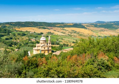 San Biagio is a Renaissance Greek cross central plan church outside Montepulciano, Tuscany, Italy