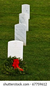 SAN BRUNO, CA - DEC 21: The Golden Gate National Cemetery after the wreath-laying event on Dec 21, 2010 in San Bruno. Wreaths Across America, a nonprofit organization, donated and placed wreaths