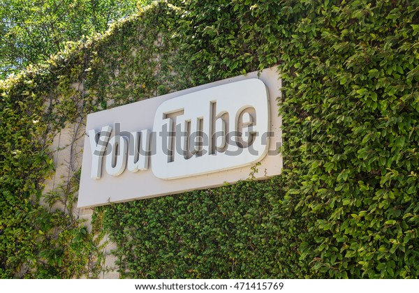 SAN BRUNO, CALIFORNIA - JULY 30, 2016:  Exterior view with sign at Youtube headquarters in San Bruno California.