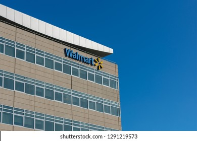 San Bruno, California, USA - January 21, 2019 : Walmart logo on top of Walmart Global eCommerce headquarters building is Silicon Valley