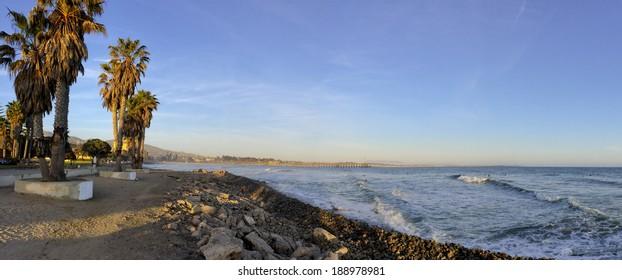 San Buena Ventura near wooden pier at Pacific ocean coast, Ventura, CA