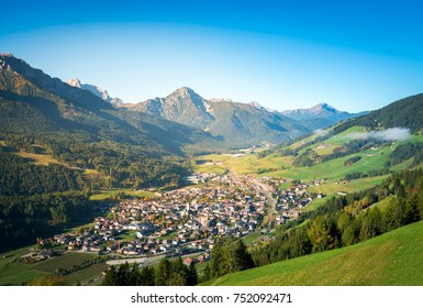 san candido, town in the middle of dolomites mountains. south tyrol, italy