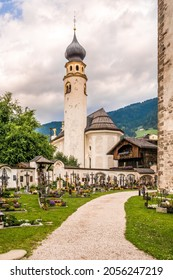 SAN CANDIDO,ITALY - JULY 13,2021 - Church San Michele in San Candido. San Candido is located in the Puster Valley on the Drava River, about 80 kilometres northeast of Bolzano.
