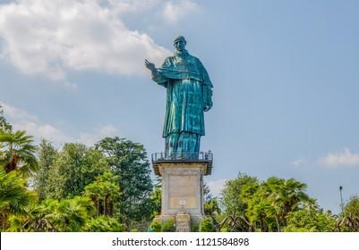 San Carlo Borromeo colossus in Arona town, Novara province, Maggiore lake, Piedmont region, Italy. It is a statue over 30 meters high located in Arona, Novara.