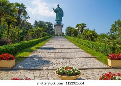 San Carlo Borromeo colossus in Arona town, Novara province, Maggiore lake, Piedmont region, Italy. It is a statue over 30 meters high located in Arona.
