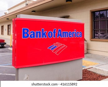 San Carlos, CA - May 5, 2016: Bank of America sign. Bank of America is a US  multinational banking and financial services corporation headquartered in Charlotte, NC.
