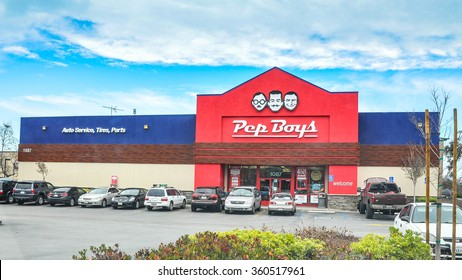 San Carlos, CA, USA - Jan. 10. 2016: Pep Boys Store. Founded in Philadelphia, Pennsylvania in 1921, The Pep Boys is a full-service and tire automotive aftermarket chain.
