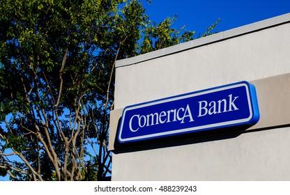 San Carlos, CA, USA - Sep. 24, 2016: Comerica Bank branch office in San Carlos, CA. Comerica, Inc. is an American financial services company headquartered in Dallas, Texas.