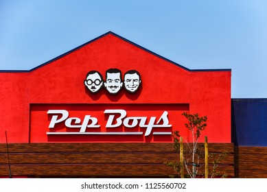 San Carlos, CA/USA - Jul. 2, 2018: Pep Boys Store. Founded in Philadelphia, Pennsylvania in 1921, The Pep Boys is a full-service and tire automotive aftermarket chain.