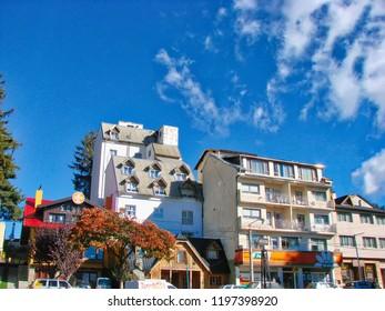 San Carlos De Bariloche, Argentina-20 September, 2016: Bariloche streets during a peak tourist season