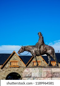 SAN CARLOS DE BARILOCHE, NAHUEL HUAPI NATIONAL PARK, RIO NEGRO PROVINCE, ARGENTINA - APRIL 15, 2018: Statue of General Roca at the Civic Center.