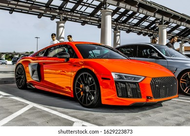 San Clemente, CA / United States - 01/22/2020: A beautifully colored Audi R8 sits in the corner on top of a parking garage during a largely known Southern California car show.