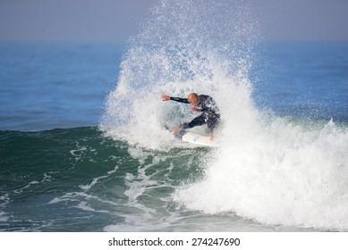 SAN CLEMENTE, CALIFORNIA - MAY 1: Kelly Slater at the Oakley Lowers Pro in San Clemente, California on May 1st, 2015.