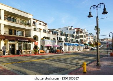San Clemente city street in front of the pier  before sunset time . San Clemente city in Orange County, California, USA. Travel destination in the South West Coast. Famous beach for surfer. 01/25/2019
