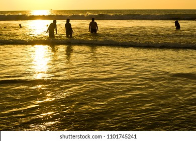 SAN CLEMENTE ECUADOR, FEBURARY-2013  Beach waves and shore Feb 2013 in San Clemente Ecuador.San Clemente is a fishing village on the Pacfic coast of Ecuador.