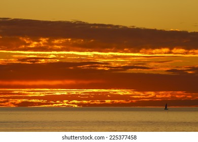 San Clemente Fire Sky with Sailboat.