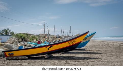 SAN CLEMENTE,MANABI, ECUADOR,  CIRCA DECEMBER 2017  Fishing boat on shore circa  Dec 2017 in San Clemente Ecuador.The inshore or artisanal fishers are an important part of Ecuador cultre