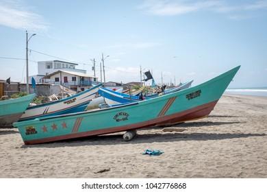 SAN CLEMENTE,MANABI, ECUADOR,  CIRCA JANUARY 2018  Fishing boat on shore circa  Dec 2017 in San Clemente Ecuador.The inshore or artisanal fishers are an important part of Ecuador cultre