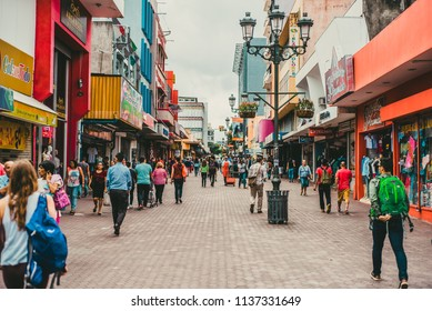 SAN JOSÉ, COSTA RICA -  July 13, 2018: view of the central avenue of the capital of Costa Rica San Jose