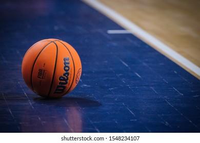 San Cristobal de La Laguna, Tenerife (Spain) - 30 October 2016: Basketball ball in the field
