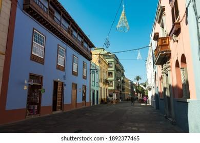 San Cristobal de La Laguna, Spain - January 16, 2020: Pedestrian street in San Cristobal de La Laguna (known as La Laguna), its historical center was declared a World Heritage Site by UNESCO in 1999.