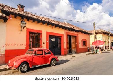 San Cristobal de las Casas, Mexico - March 26, 2015: Typical street scene in colorful San Cristobal de las Casas, Chiapas