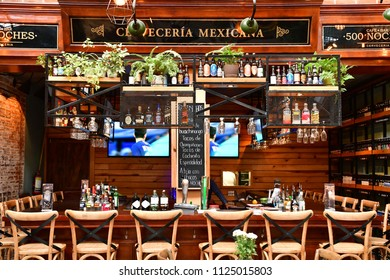 San Cristobal De Las Casas;  Chiapas, United Mexican States - may 16 2018 : restaurant in the old city