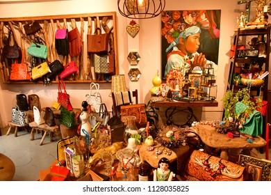 San Cristobal De Las Casas;  Chiapas, United Mexican States - may 16 2018 : souvenir shop in the picturesque old city