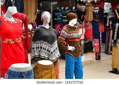 San Cristobal De Las Casas;  Chiapas, United Mexican States - may 16 2018 : cloth shop in the picturesque old city
